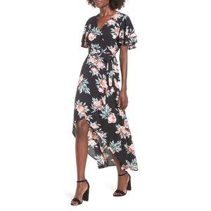 Ruffle Sleeve Flowy Floral Maxi Wrap Dress